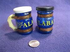 Vintage Blue Glass Mug Stein Alabama Souvenir Salt and Pepper Shakers       45