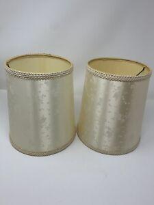 """Pair Silk Drum Lamp Shades Cream Floral 6.5"""" x 9"""""""