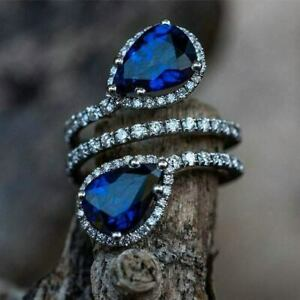 Dazzling Halo Engagement Wedding Sweeping Ring 14K White Gold 4 Ct Pear Sapphire