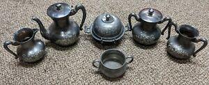 Albany Silver Plate Co Butter Keeper Dish, tea pot, 5 peice 5103 set plus bonus