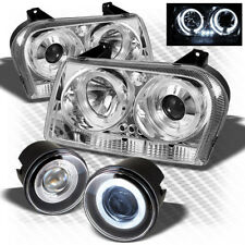 For 05-08 Chrysler 300 LED Projector Headlights+Halo Pro Fog Lights+Switch