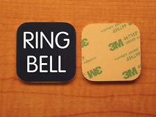 Engraved 3x3 RING BELL Plastic Tag Sign Plate   Navy Blue Doorbell Plate Plaque