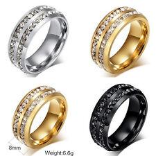 316L Stainless Steel CZ Ring Band Size 6-13 Men Women Titanium Wedding Jewelry