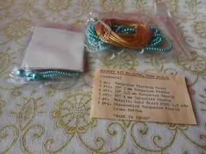 Vintage Egg Decorating EGGEURY Kit w/Turquoise Beads Pearls Complete NEW