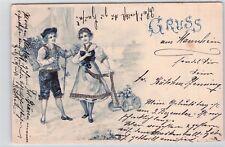 SELTEN Litho AK mit Glitzer-Steinchen 1901@Gruss aus ... Mannheim@Paar in Tracht