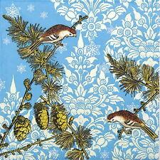 20x Lunch Paper Napkins Serviettes Party, Decopage - Pinecone Ornaments blue