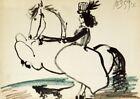 PABLO PICASSO Equestrian, 1959 10.5 x 14.5 Lithograph 1959 Cubism Black & White,