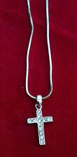 Rhinestone Cross Charm Necklace