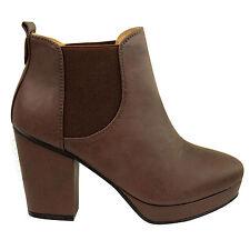 Botines Plataforma Bloque Tacón Alto Mujer Chicas Chelsea Zapatos Talla