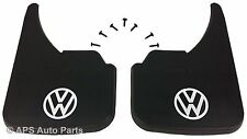 Universal Car Mudflaps Front Rear VW Volkswagen White Logo Fox Golf Jetta Guard