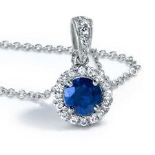 Beautiful 0.75 Carat Sapphire Gemstone and side Diamonds Pendant,14k White Gold