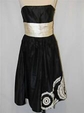 LAUNDRY Black & Cream SILK Strapless RUFFLE Fancy COCKTAIL PARTY DRESS size 6