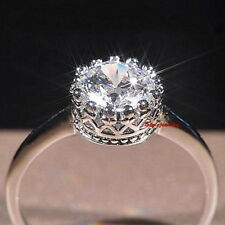 18k White Gold Plated Round Shape Wedding Engagement Ring Crown Ring Size 6 R15