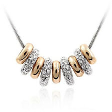 Xmas 18K White&Yellow Gold Plated Rhinestone Beads Necklace Pendant