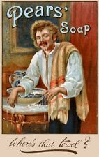 Pears Shaving Soap reproduction Advertising Poster A4 photo towel