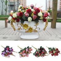 2 Bouquets 42 Head Artificial Faux Silk Rose Flower Bouquet Home Wedding Decor