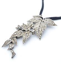 Necklace Floral Corsage Pendant Necklace Silver Flowers on Black Silk