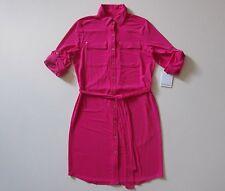 NWT Calvin Klein Hibiscus Pink Roll Sleeve Button Down Jersey Shirt Dress 6