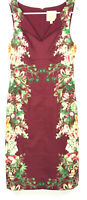 MODCLOTH Sz S DRESS Floral Burgundy Sleeveless Stretch