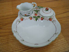 New listing Handpainted Porcelain Strawberry Serving Set All-in-one Sugar and Creamer