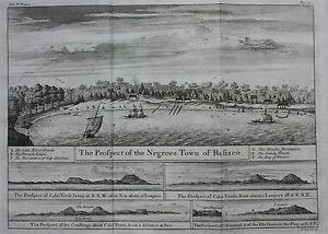 Original antique print AFRICA RUFISQUE RUFISCO DAKAR SENEGAL, Barbot, Kip, 1746