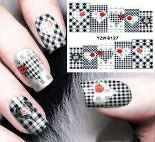 Nail Art Stickers Water Decals Transfers Love Heart Tartan Patterned Gel Polish