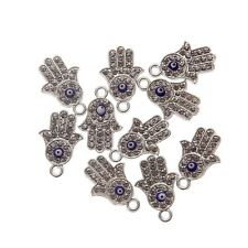 10pcs Hamsa Hands Gold Silver Charms Pendant Fit DIY Bracelet Jewelry Finding