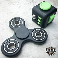 Fidget Cube+Hand Spinner Anxiety Stress Relief Focus Desk Toy Gift Adults Kids