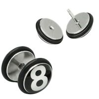 1 Stück Fakeplug eightball Fake Plugs Billard 8 acht Ohrstecker Piercing