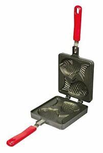 Japanese Taiyaki Dual Fish-Shaped Maker Pan Cast Iron Direct Flame Toaster Pan