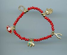 Red Kaballah Crystal, Hamsa Evil Eye Horseshoe Elephant Stretch Bracelet