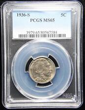 1936-S BUFFALO NICKEL GEM UNC PCGS MS65 US COIN (199)