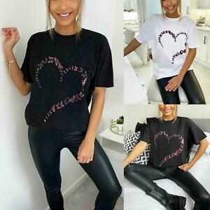 New Womens Oversized Butterfly Love Heart Print Short Sleeve T-Shirt Ladies Top