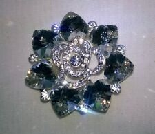 Crystal Hearts Womens Silver Tone Diamante Brooch, with pin, BNWT Unbranded