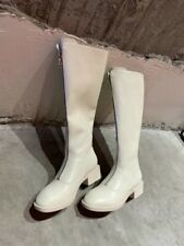 Ladies Low Heels Riding Combat New Women Leather Mid Calf Boots Shoes Size 34-40