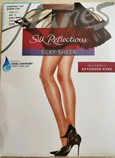 Hanes Reinforced Toe Pantyhose Silk Reflections Control Top Silky Sheer Size ij