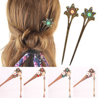 Women Vintage Wood Flower Rhinestone Hair Chopsticks Stick Pin Hairpin Chignon