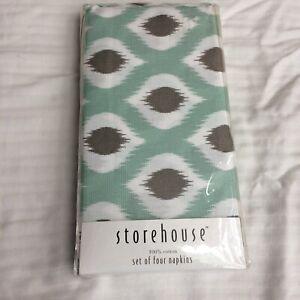 NIP - Storehouse Turquoise/White/ Tan 100% Cotton  Set/Lot of 4 Napkins/Linens