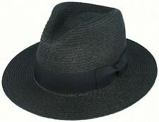 Mens Straw Fedora Hat Sun Summer Paper Gangster Black feather Trilby Women