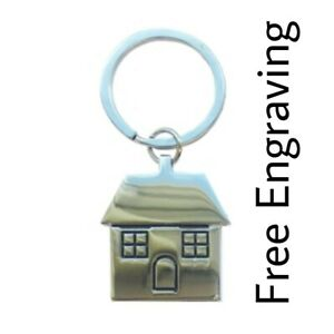 Personalised House Home Keyring | Engraved Message | Gift Bag | new home owner