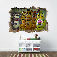 Five Nights at Freddy's 3D Smashed Hole Wall Sticker Decal Mural Children J1214