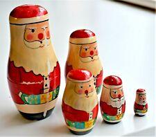 Vintage Russian Nesting Doll Father Christmas Set of 5 Santa Tallest 14cm X'mas