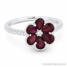 Pave 18k White Gold Right-Hand Flower Ring 1.72 ct Pear-Shape Red Ruby & Diamond