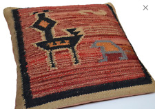 Handmade Kilim Cushion Cover Bird Maroon Ethnic Rustic Indian Moroccan 60cm