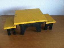 Doll House Table & 2 Benches  Handmade in 1928 by 12 Year Old Girl  Norway