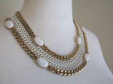 Erica Lyons Collar Necklace Multi Strand Chain White Gold White Stone Tone Vtg?