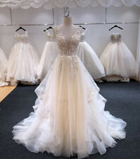 Beach Wedding Dresses Beading Bridal Gown Ruffles A-Line Sleeveless 4-26W Custom