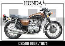 HONDA CB500 FOUR (1974) LAMINATED CLASSIC MOTORCYCLE PRINT / POSTER