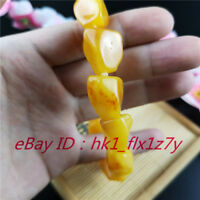 Natural Amber Elastic Bead Bracelet Fashion Charm Jewelry Lucky Amulet A7