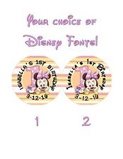 30 Minnie Mouse 1st First Birthday Stickers Lollipop Labels Party Favors 1.5 in